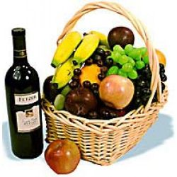 ​Christmas Fruits Wine Basket Send to Manila