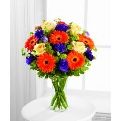 12 Orange Gerberas and Yellow Roses