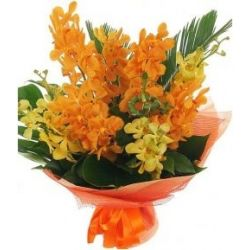 12 Yellow and Orange Orchids in a Bouquet