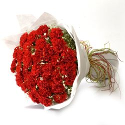 50 Red Carnations in Bouquet