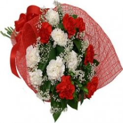 12 Red and White Carnations in a Bouquet