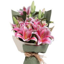 6 Pink Lilies in a Bouquet