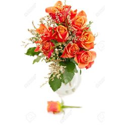 12 Orange Roses with Greenery in Free Free Vase