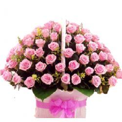 60 Pink Roses in Flower Basket