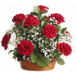 12 Red Roses in Basket