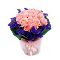 ​24 Pink Roses Bouquet with Seasonal Blooms