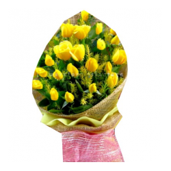 ​24 Yellow Roses Bouquet with Greenery