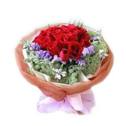 ​12 Red Roses in Bouquet with Seasonal Blooms