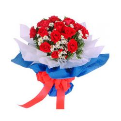 12 Red Roses in Bouquet with Seasonal Blooms
