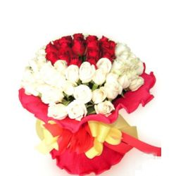 ​24 Red and White Roses in Bouquet