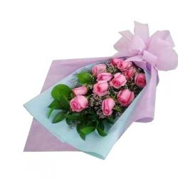 ​12 Pink Roses Bouquet with Seasonal Flower