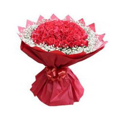​36 Red Roses in Bouquet with Seasonal Flower