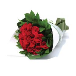 12 Red Roses Bouquet with Greenery