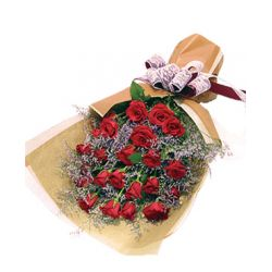 24 Red Roses in Bouquet with Seasonal Blooms