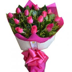 ​12 Pink Lilies in a Bouquet