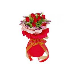 12 Red Roses Bouquet with Seasonal Flower