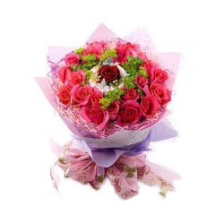 23 Pink Roses and 1 Red Rose Center in Bouquet.