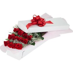 ​12 Red Roses in a Box with Seasonal Flowers