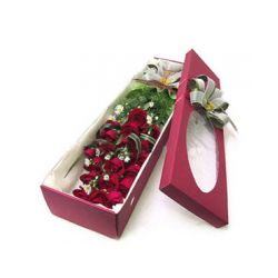 12 Red Roses in a Box with Seasonal Flowers