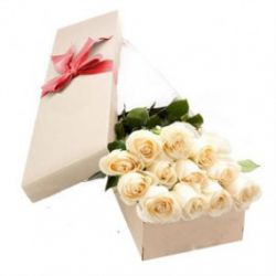 ​12 White Roses in a Box