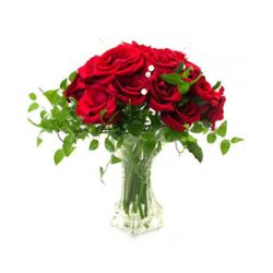​12 Red Roses with Greenery in Free Vase