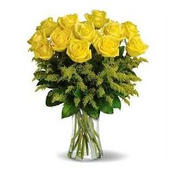​12 Yellow Roses with Greenery in Free Vase