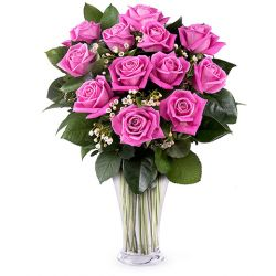 12 Pink Roses with Greenery in Free Vase