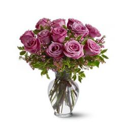 ​12 Pink Roses with Seasonal Flower in Free Vase