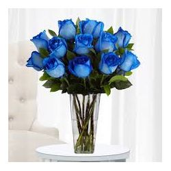 ​​12 Blue Roses with Greenery in Free Vase