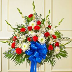 Red White And Blue Sympathy Funeral Basket