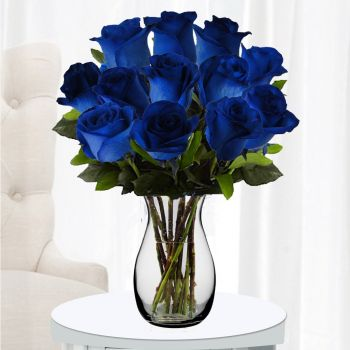 ​12 Blue Roses with Greenery in Free Vase