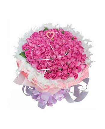 100 Pink Roses in Bouquet